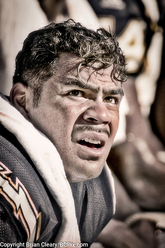 MIAMI, FL - DEC 19, 1999:  Linebacker Junior Seau, #55 is shown on the sidelines as the Miami Dolphins defeat his San Diego Chargers 12-9 at Joe Robbie Stadium, in Miami, FL. (Photo by Brian Cleary/www.bcpix.com)