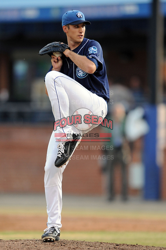 Asheville Tourists starting pitcher T.J. Oakes #39 delivers a pitch during a game against the  Kannapolis Intimidators at McCormick Field on May 9, 2013 in Asheville, North Carolina. The Intimidators won the game 13-12. (Tony Farlow/Four Seam Images).