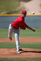 Los Angeles Angels starting pitcher Luis Madero (84) during a Minor League Spring Training game against the Chicago Cubs at Sloan Park on March 20, 2018 in Mesa, Arizona. (Zachary Lucy/Four Seam Images)