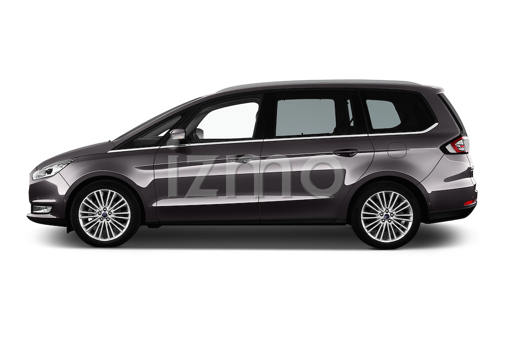 Car Driver side profile view of a 2016 Ford Galaxy Titanium 5 Door Minivan Side View