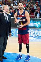 FC Barcelona Lassa captain Juan Carlos Navarro with the 2nd position award during the final of Supercopa of Liga Endesa Madrid. September 24, Spain. 2016. (ALTERPHOTOS/BorjaB.Hojas) NORTEPHOTO.COM