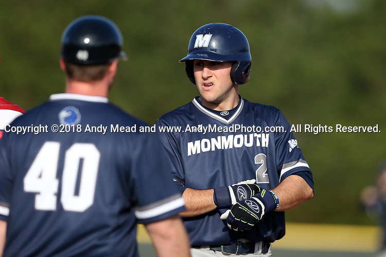 CARY, NC - FEBRUARY 23: Monmouth's Danny Long (2). The Monmouth University Hawks played the Saint John's University Red Storm on February 23, 2018 on Field 2 at the USA Baseball National Training Complex in Cary, NC in a Division I College Baseball game. St John's won the game 3-0.