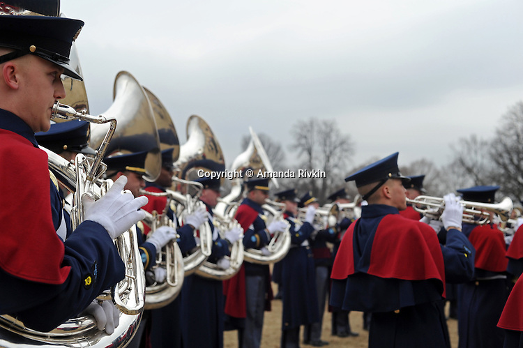 "A marching band plays ahead of the ""We Are One"" concert in celebration of Barack Obama's inauguration as president of the United States at the Lincoln Memorial in Washington, DC on January 18, 2009."