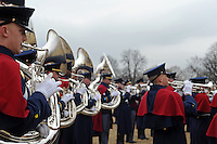 """A marching band plays ahead of the """"We Are One"""" concert in celebration of Barack Obama's inauguration as president of the United States at the Lincoln Memorial in Washington, DC on January 18, 2009."""