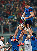 Rugby, Torneo Sei Nazioni: Italia vs Francia. Roma, stadio Olimpico, 15 marzo 2015.<br /> France's Alexandre Flanquart grabs the ball during the Six Nations championship rugby match between Italy and France at Rome's Olympic stadium, 15 March 2015.<br /> UPDATE IMAGES PRESS/Riccardo De Luca