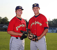 State College Spikes pitchers Stetson Allie (48) and Jameson Taillon (43) pose for a photo before a game vs. the Batavia Muckdogs at Dwyer Stadium in Batavia, New York July 17, 2010.   Batavia defeated State College 12-11 in 11 innings.  Photo By Mike Janes/Four Seam Images
