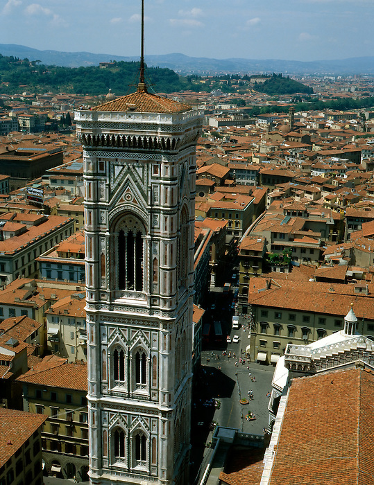 Giotto?s bell tower (campanile) stands on the Cathedral square (Piazza del Duomo) in Florence, Italy.