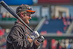 1 April 2013: Miami Marlins outfielder Austin Kearns awaits his turn in the batting cage prior to the Opening Day Game against the Washington Nationals at Nationals Park in Washington, DC. The Nationals shut out the Marlins 2-0 to launch the 2013 season. Mandatory Credit: Ed Wolfstein Photo *** RAW (NEF) Image File Available ***