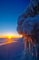 Ice on shore of Lake Winnipeg at sunrise, Winnipeg Beach, Manitoba, Canada