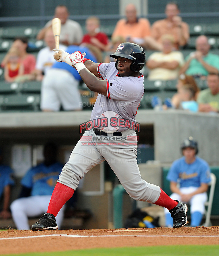 Outfielder Michael Burgess (25) of the Potomac Nationals in a game against the Myrtle Beach Pelicans on Aug. 7, 2010, at BB&T Coastal Field in Myrtle Beach, S.C. Photo by: Tom Priddy/Four Seam Images