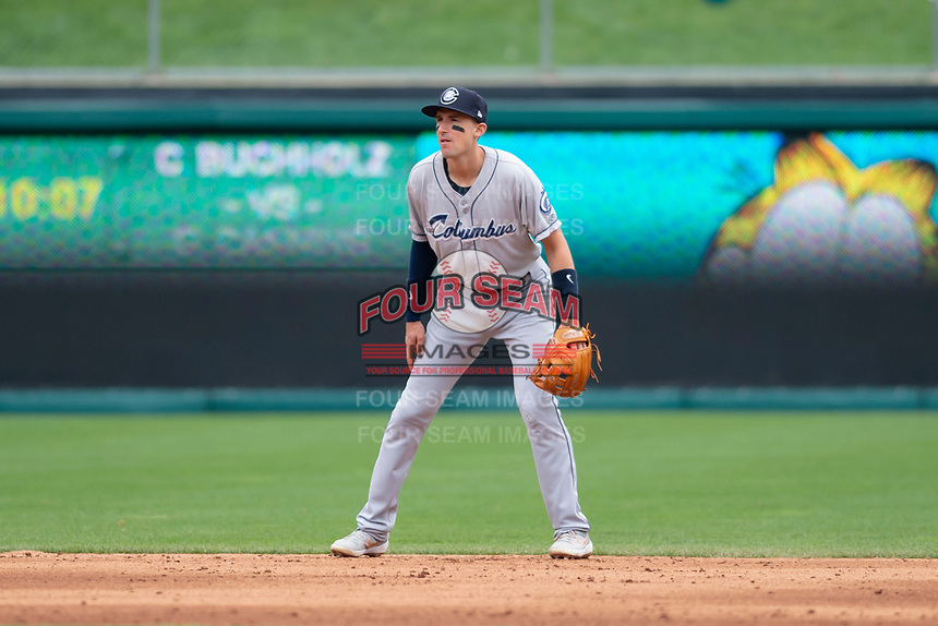Columbus Clippers shortstop Ryan Flaherty (15) during an International League game against the Indianapolis Indians on April 30, 2019 at Victory Field in Indianapolis, Indiana. Columbus defeated Indianapolis 7-6. (Zachary Lucy/Four Seam Images)