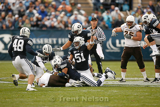 Trent Nelson  |  The Salt Lake Tribune. during the first half, BYU vs. Wyoming, college football Saturday, October 23, 2010 at LaVell Edwards Stadium in Provo. BYU linebacker Shane Hunter (51)