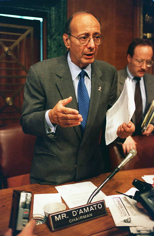 10/30/97.IRAN-LYBIA SANCTION ACT--Senate Banking, Housing and Urban Affairs Committee Chairman Al D'Amato, R-N.Y., talks to reporters after a hearing on implementing the Iran-Lybia Sactions Act and the Russian firm Gazprom's participation in an oil deal with Iran. .CONGRESSIONAL QUARTERLY PHOTO BY SCOTT J. FERRELL