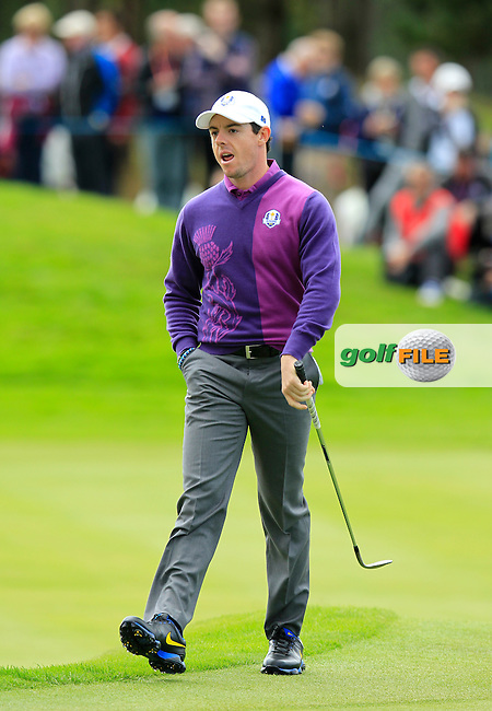 Rory McIlroy (EUR)  during Practice on Wednesday at the 40th Ryder Cup, The Gleneagles Hotel, Perthshire from 26th to 28th September 2014<br /> Picture Eoin Clarke, www.golffile.ie
