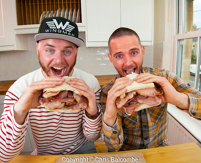 CAPTION:  Stuart Jolley, left, with Simon Maudsley enjoying their bacon<br /> <br /> Rather lather smelling of bacon?<br /> Or is it ir-RASHER-nal?<br /> <br /> Stuart Jolley was in such a lather about the &lsquo;feminine&rsquo; scents of men&rsquo;s toiletries, he&rsquo;s created a bizarre new product - smoky bacon shower gel!<br /> He used a nationwide consumer survey, to find out which aromas people loved.<br /> &ldquo;Out shopping, I was frustrated with the inevitability of having to buy a product that would leave you smelling like your girlfriend,&rdquo; he said, at his company, Wingman, in Bath, Somerset.<br /> &ldquo;The vast majority of brands like to play it safe with male grooming scents,  but we see this as a huge opportunity for us to stand out from the crowd. <br /> &ldquo;Men no longer have to go through life smelling of vanilla, lavender or, God forbid &ndash; jasmine,&rdquo; he said.<br /> &ldquo;Our scents are not an afterthought - we focus on unique variations made for a highly specific individual who knows what he likes.  <br /> Wingman launched its first 3-in-1 gel, which smelt of jet fuel, in 2013.  The multi-functional product enabled men to shower, shampoo and shave all from one bottle.<br /> &ldquo;Our Jet Fuel Gel has sold really well,&rdquo; said Stuart, 29.<br /> &ldquo;It&rsquo;s a bit like the smell when you&rsquo;re filling your car up at the petrol station. You shouldn&rsquo;t like it but, boy, you do!&rdquo;.<br /> A national survey showed that the favourite scents of a thousand people were as follows:<br /> 1.Freshly Baked Bread (551)<br /> 2.Bacon and Clean Linen (332 &ndash; joint second)<br /> 3.The sea (331)<br /> 4.Vanilla (236)<br /> 5.Petrol (144)<br /> <br /> FULL COPY: Contact Chris on 07568 098176<br /> <br /> Pics: Chris Balcombe