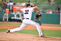 Northern Divisions pitcher Nick Raquet (32) of the Hagerstown Suns delivers a pitch during the South Atlantic League All Star Game at First National Bank Field on June 19, 2018 in Greensboro, North Carolina. The game Southern Division defeated the Northern Division 9-5. (Tony Farlow/Four Seam Images)
