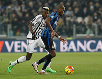 Calcio, semifinali di andata di Coppa Italia: Juventus vs Inter. Torino, Juventus Stadium, 27 gennaio 2016.<br /> FC Inter's Geoffrey Kondogbia, right, is chased by Juventus&rsquo; Paul Pogba during the Italian Cup semifinal first leg football match between Juventus and FC Inter at Juventus stadium, 27 January 2016.<br /> UPDATE IMAGES PRESS/Isabella Bonotto