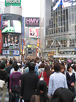 The crowded Shibuya intersection, Tokyo
