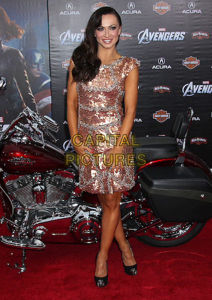 """Karina Smirnoff.""""Marvel's The Avengers"""" World Premiere held at the El Capitan Theatre, Hollywood, California, USA..April 11th, 2012.full length gold silver dress beads beaded embellished jewel encrusted sequins sequined motorbike motorcycle bike.CAP/ADM/RE.©Russ Elliot/AdMedia/Capital Pictures."""