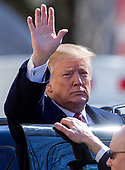 United States President Donald J. Trump gestures after attending services at St. John's Episcopal Church in Washington, DC, USA, 17 March 2019. The Trumps attended church on St. Patrick's Day.<br /> Credit: Erik S. Lesser / Pool via CNP