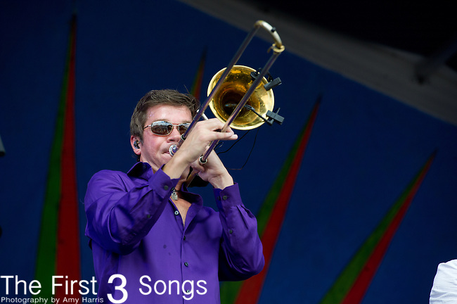 Mark Mullins of Bonerama performs during the New Orleans Jazz & Heritage Festival in New Orleans, LA.
