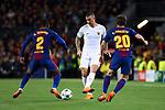 UEFA Champions League 2017/2018.<br /> Quarter-finals 1st leg.<br /> FC Barcelona vs AS Roma: 4-1.<br /> Nelson Semedo, Aleksandar Kolarov &amp; Sergi Roberto.