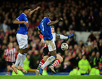 Lincoln City's Shay McCartan is tackled by Everton's Kurt Zouma inside the penalty area, but no spot kick was awarded<br /> <br /> Photographer Chris Vaughan/CameraSport<br /> <br /> Emirates FA Cup Third Round - Everton v Lincoln City - Saturday 5th January 2019 - Goodison Park - Liverpool<br />  <br /> World Copyright &copy; 2019 CameraSport. All rights reserved. 43 Linden Ave. Countesthorpe. Leicester. England. LE8 5PG - Tel: +44 (0) 116 277 4147 - admin@camerasport.com - www.camerasport.com