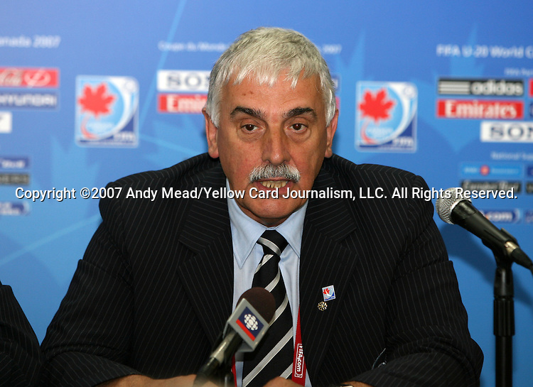 30 June 2007: Colin Linford, President of the Canadian Soccer Association. At Le Stade Olympique in Montreal, Quebec, Canada. Poland's Under-20 Men's National Team defeated Brazil's Under-20 Men's National Team 1-0 in a Group D opening round match during the FIFA U-20 World Cup Canada 2007 tournament.