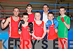 BOXING: Member's of Tralee boxing club who competed in the Tralee Boxing club tournament at Tralee army barracks on Saturday front l-r: Quinn O'Halloran, Paul Noonan and Ian Moynihan. Back l-r: Jeff Roche, Thomas O'Sullivan, Seanie O'Leary (head coach) and Darragh O'Sullivan...