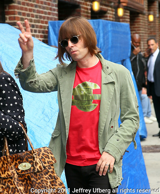 """June 22, 2011 New York: Liam Gallagher visits """"Late Show with David Letterman"""" at Ed Sullivan Theatre on June 22, 2011 in New York."""