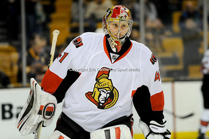 February 8, 2014 - Boston, Massachusetts, U.S. - Ottawa Senators goalie Craig Anderson (41) skates during the warm up period at the NHL game between the Ottawa Senators and the Boston Bruins held at TD Garden in Boston Massachusetts.   Eric Canha/CSM