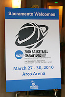 SACRAMENTO, CA - MARCH 29: A banner before Stanford's 55-53 win over Xavier in the NCAA Women's Basketball Championship Elite Eight on March 29, 2010 at Arco Arena in Sacramento, California.