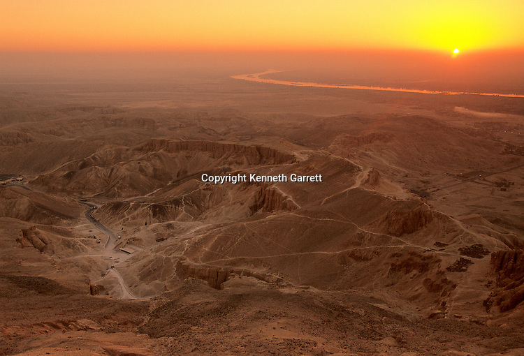 View from top of the Qurn at sunrise, Valley of the Kings, Egypt