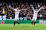 Denis Cheryshev (R) and Santiago Mina Lorenzo of Valencia CF (L) gestures during the UEFA Champions League 2018-19 match between Valencia CF and Manchester United at Estadio de Mestalla on December 12 2018 in Valencia, Spain. Photo by Maria Jose Segovia Carmona / Power Sport Images