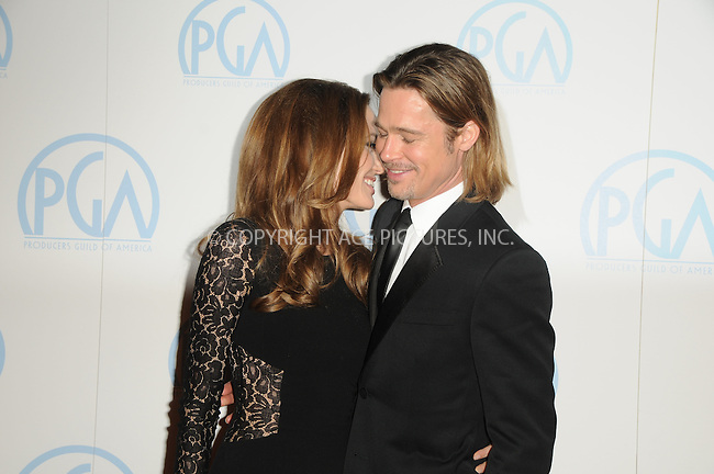 WWW.ACEPIXS.COM . . . . .  ....January 21 2012, LA....Actress Angelina Jolie and actor Brad Pitt arriving at the 23rd Annual Producers' Guild Awards at The Beverly Hilton hotel on January 21, 2012 in Beverly Hills, California. ....Please byline: PETER WEST - ACE PICTURES.... *** ***..Ace Pictures, Inc:  ..Philip Vaughan (212) 243-8787 or (646) 679 0430..e-mail: info@acepixs.com..web: http://www.acepixs.com
