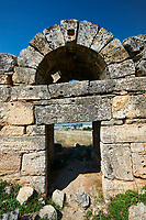 Picture of the ruins of a gate to Hieropolis. Hierapolis archaeological site near Pamukkale in Turkey.