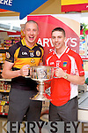 Kieran Donaghy and Marc O'Se pictured at the launch of the Kerry Senior Football Championship sponsored by Garveys Supervalu at Garveys Rock Street Tralee on Monday.