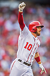 15 June 2016: Washington Nationals shortstop Stephen Drew celebrates his 8th inning, pinch hit solo home run against the Chicago Cubs at Nationals Park in Washington, DC. The Nationals defeated the Cubs 5-4 in 12 innings to take the rubber match of their 3-game series. Mandatory Credit: Ed Wolfstein Photo *** RAW (NEF) Image File Available ***