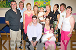 CHRISTENING JOY: Jimmy and May Moore, Chute Hall, Tralee, celebrated the christening of their daughter Chloe with family and friends in the Ballyroe Heights Hotel on Saturday. Seated l-r: Jimmy, May and Chloe Moore. Standing l-r: Padraig Sugrue, James, Tracey & Lilly Moore, Kaila & Samantha Sugrue, Noreen, John and Martina Casey.   Copyright Kerry's Eye 2008