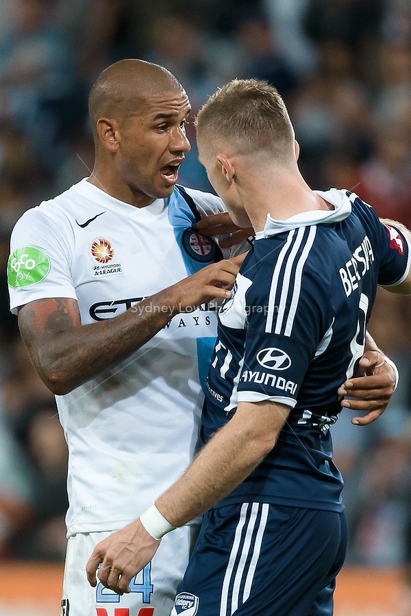 Besart BERISHA of the Victory and Patrick KISNORBO of Melbourne City exchange words after the match in round 11 A-League match between Melbourne City and Melbourne Victory at AAMI Park in Melbourne, Australia during the 2014/2015 Australian A-League season. City def Victory 1-0
