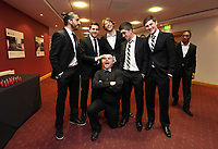 Pictured: Wednesday 10 April 2013<br /> Re: Swansea footballer Angel Rangel and wife Nicky's cancer charity fundraising dinner at the Liberty Stadium.<br /> Chico Flores<br /> Ben Davies<br /> Pablo Hernandez<br /> Michu<br /> Jonathan de Guzman