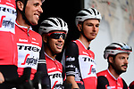 Richie Porte (AUS) and Trek-Segafredo on stage at the team presentation before Stage 1 of the Criterium du Dauphine 2019, running 142km from Aurillac to Jussac, France. 9th June 2019<br /> Picture: ASO/Alex Broadway | Cyclefile<br /> All photos usage must carry mandatory copyright credit (© Cyclefile | ASO/Alex Broadway)