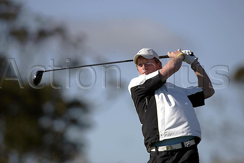 29 September 2005:  England cricketer Paul Collingwood looks into the distance after playing from the 11th Tee at Kingsbarns during the first round of the Dunhill Links Championship, St Andrews, Scotland. Photo: Glyn Kirk/Actionplus....050929 man men celebrity.   .