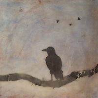 Mixed media photo painting of raven on branch with crows in background sky by encaustic artist Jeff League