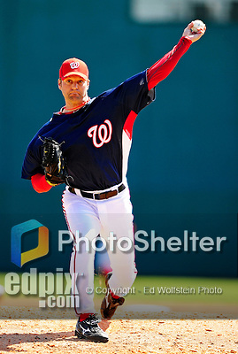 6 March 2010: Washington Nationals' pitcher Shawn Estes in action during a Spring Training game against the New York Mets at Space Coast Stadium in Viera, Florida. The Mets defeated the Nationals 14-6 in Grapefruit League action. Mandatory Credit: Ed Wolfstein Photo