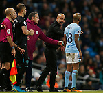 Josep Guardiola manager of Manchester City gives instruction to Fabian Delph of Manchester City during the premier league match at the Etihad Stadium, Manchester. Picture date 3rd December 2017. Picture credit should read: Andrew Yates/Sportimage