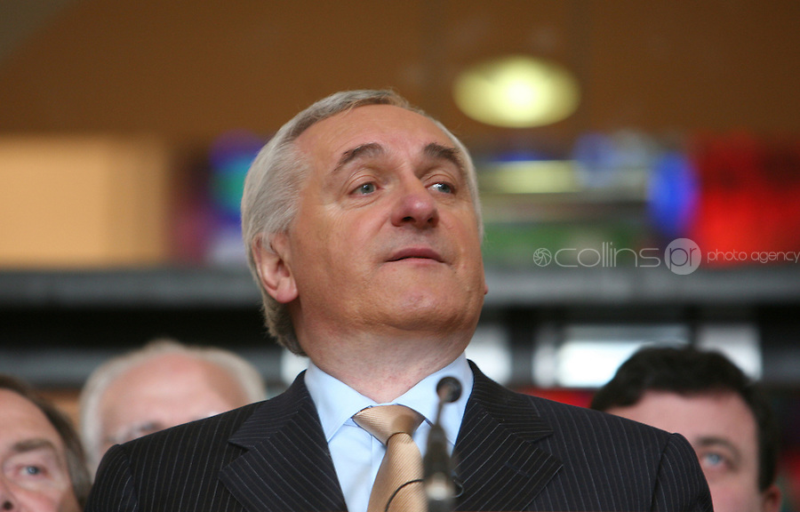 02/04/2008 . An Taoiseach Bertie Ahern TD at Government buildings, Dublin during an announcement that he will tender his resignation to President Mary McAleese on 6 May. .Photo: Gareth Chaney Collins