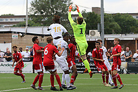 Fulham goalkeeper, Taye Ashby-Hammond safely catches the ball to foil a Bromley attack during Bromley vs Fulham, Friendly Match Football at the H2T Group Stadium on 6th July 2019