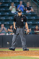 Home plate umpire Reid Joyner during the South Atlantic League game between the Savannah Sand Gnats and the Hickory Crawdads at L.P. Frans Stadium on June 15, 2015 in Hickory, North Carolina.  The Crawdads defeated the Sand Gnats 4-1.  (Brian Westerholt/Four Seam Images)
