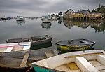 Bernard, Maine: Dinghies and lobster boats on a calm overcast morning